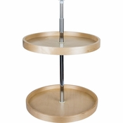 "Hardware Resources - 18"" Round Banded Lazy Susan Set with Twist and Lock Adjustable Pole. - Birch - BLSR218-SET"