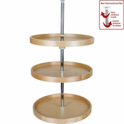 "Hardware Resources - 18"" Round Banded Lazy Susan Set with Twist and Lock Adjustable Pole. - Birch - BLSR2318-SET"
