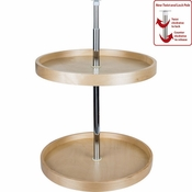 "Hardware Resources - 24"" Round Banded Lazy Susan Set with Twist and Lock Adjustable Pole. - Birch - BLSR224-SET"