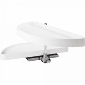 "Hardware Resources -  32"" Half-Moon Lazy Susan Set with White Plastic Trays  - HMLS-P-3212"