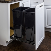 Hardware Resources - 50 Quart Double Pullout Waste Container System. - CAN-EBMD50B-R