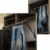 "Hardware Resources - 21"" Expanding to 24"" Wardrobe Lift Chrome Tubing with Black Plastic Housing. - 1521"