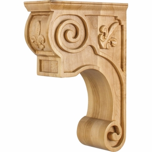 Hardware Resources - CORT-FMP - Hand-Carved Wood Corbel with Fleur de Lis and Scroll Detail Design - Hard Maple