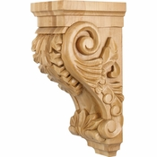 Hardware Resources - CORBB-2RW - Medium Acanthus Wood Corbel - Rubberwood