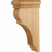 Hardware Resources - CORJ-RW - Traditional Fluted Wood Bar Bracket Corbel - Rubberwood