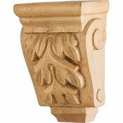 Hardware Resources - CORMJ-RW - Mini Wood Corbel with Acanthus Detail - Rubberwood