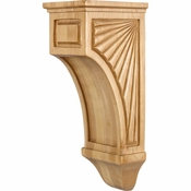 Hardware Resources - COR14-2RW - Scalloped Mission Style Corbel - Rubberwood