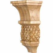 Hardware Resources - COR15-1RW - Diamond Colonial Style Corbel - Rubberwood