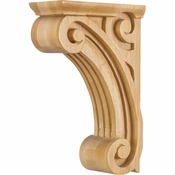 Hardware Resources - COR4-1RW - Open Space Fluted Corbel - Rubberwood