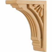 Hardware Resources - COR5-1RW - Art Deco Corbel - Rubberwood