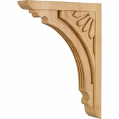 Hardware Resources - COR5-4RW - Art Deco Corbel - Rubberwood