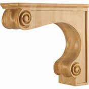 Hardware Resources - COR9-2RW - Traditional Medium Range Hood Corbel - Rubberwood