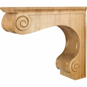 Hardware Resources - COR9-4MP - Traditional Large Range Hood Corbel - Hard Maple