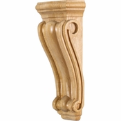Hardware Resources - CORN-3RW - Medium, Low Profile, Traditional Wood Corbel - Rubberwood