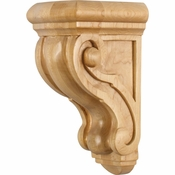 Hardware Resources - CORQ-1RW - Rounded Traditional Wood Corbel - Rubberwood