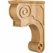 Hardware Resources - CORT-PRW - Hand-Carved Wood Corbel with Plain Design - Rubberwood