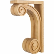 Hardware Resources - CORY-RW - Scrolled Wood Bar Bracket Corbel - Rubberwood