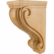 Hardware Resources - CORC-24WB - Large Traditional Kitchen Hood Wood Corbel - White Birch