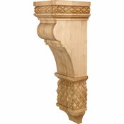 Hardware Resources - COR15-3RW - Diamond Colonial Style Corbel - Rubberwood