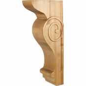 Hardware Resources - COR25-3RW - Transitional Scrolled Corbel - Rubberwood