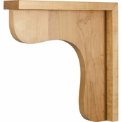 Hardware Resources - COR8-2RW - Traditional Wood Bar Bracket - Rubberwood