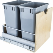 Hardware Resources - Preassembled 35 Quart Double Pullout Waste Container System. - Birch - CAN-MDB35G