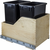 Hardware Resources - Preassembled 35 Quart Double Pullout Waste Container System. - Baltic Birch - CAN-WBMD35B