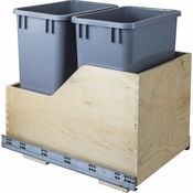Hardware Resources - Preassembled 35 Quart Double Pullout Waste Container System. - Baltic Birch - CAN-WBMD35G