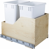 Hardware Resources - Preassembled 35 Quart Double Pullout Waste Container System. - Baltic Birch - CAN-WBMD35WH