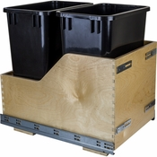 Hardware Resources - Preassembled 35 Quart Double Pullout Waste Container System. - Baltic Birch - CDM-WBMD35B
