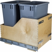 Hardware Resources - Preassembled 35 Quart Double Pullout Waste Container System. - Baltic Birch - CDM-WBMD35G