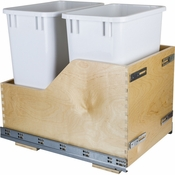Hardware Resources - Preassembled 35 Quart Double Pullout Waste Container System. - Baltic Birch - CDM-WBMD35WH