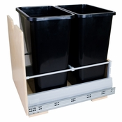 Hardware Resources - Preassembled 35 Quart Double Pullout Waste Container System. - Birch - CAN-MDB