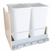 Hardware Resources - Preassembled 35 Quart Double Pullout Waste Container System. - Birch - CAN-MDBW