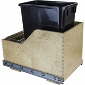 Hardware Resources - Preassembled 35 Quart Single Pullout Waste Container System. - Baltic Birch - CAN-WBMS35B