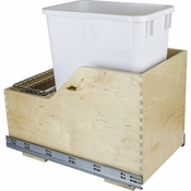 Hardware Resources - Preassembled 35 Quart Single Pullout Waste Container System. - Baltic Birch - CAN-WBMS35WH
