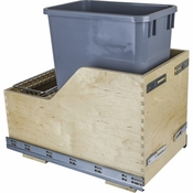 Hardware Resources - Preassembled 35 Quart Single Pullout Waste Container System. - Baltic Birch - CDM-WBMS35G
