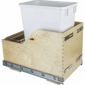 Hardware Resources - Preassembled 35 Quart Single Pullout Waste Container System. - Baltic Birch - CDM-WBMS35WH