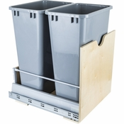 Hardware Resources - Preassembled 50 Quart Double Pullout Waste Container System. - Birch - CAN-MDB50G