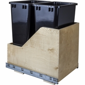 Hardware Resources - Preassembled 50 Quart Double Pullout Waste Container System. - Baltic Birch - CAN-WBMD50B