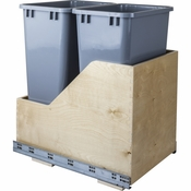 Hardware Resources - Preassembled 50 Quart Double Pullout Waste Container System. - Baltic Birch - CAN-WBMD50G