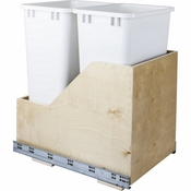 Hardware Resources - Preassembled 50 Quart Double Pullout Waste Container System. - Baltic Birch - CAN-WBMD50WH