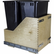 Hardware Resources - Preassembled 50 Quart Double Pullout Waste Container System. - Baltic Birch - CDM-WBMD50B