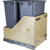 Hardware Resources - Preassembled 50 Quart Double Pullout Waste Container System. - Baltic Birch - CDM-WBMD50G