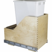 Hardware Resources - Preassembled 50 Quart Single Pullout Waste Container System. - Baltic Birch - CAN-WBMS50WH