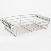 "Hardware Resources - Closet Pullout Basket 16""D x 23""W x 6""H. - Satin Nickel - POB1-16236SN"