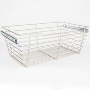 "Hardware Resources - Closet Pullout Basket 16""D x 29""W x 11""H. - Satin Nickel - POB1-162911SN"