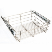 "Hardware Resources - Closet Pullout Basket 16""D x 29""W x 6""H. - Satin Nickel - POB1-16296SN"
