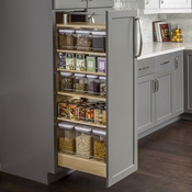 "Hardware Resources - Wood Pantry Cabinet Pullout 14-1/2"" x 22-1/4"" x 53"". - Clear UV - PPO2-1454"