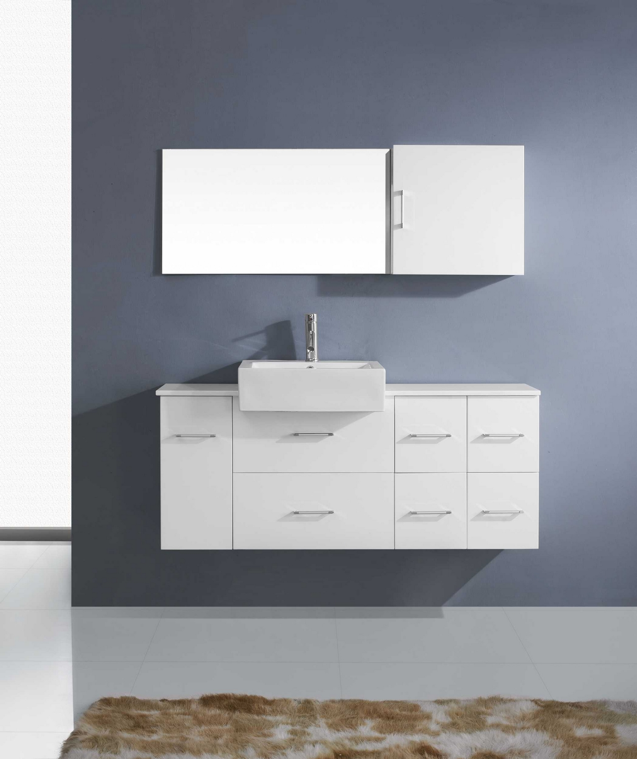 Virtu Usa Hazel 59 Single Bathroom Vanity Cabinet Set In